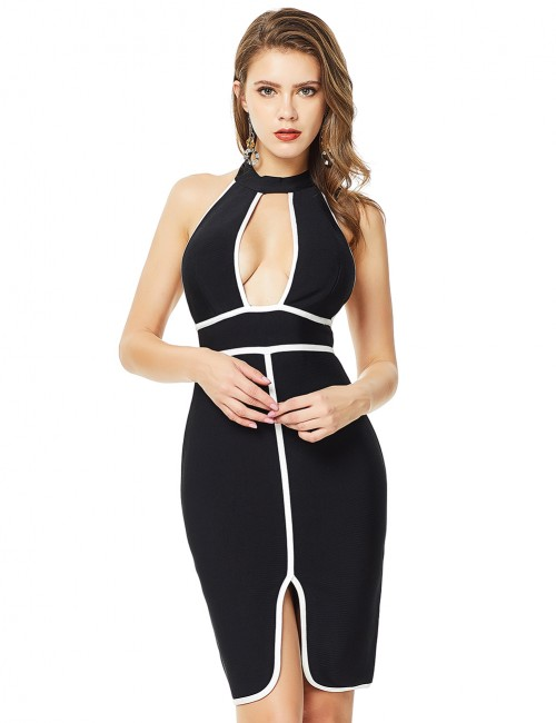 Black Contrast Piping Backless Halter Bandage Dress Zip Female Grace