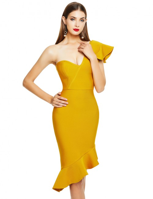 Yellowish Brown V Neck Sleeveless Flounce Package Hip Bandage Dress