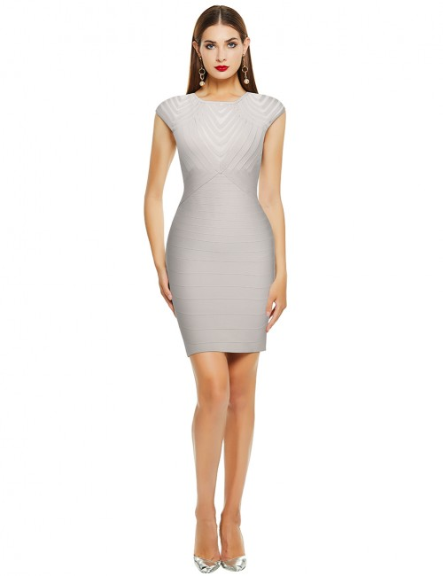 Cheeky Beige Tight Bandage Dress Hollow-Out Cap Sleeve Casual Comfort