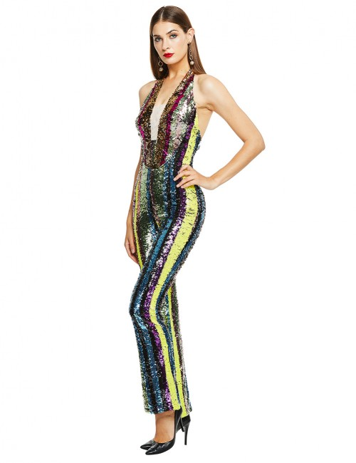 Demure Halter Neck Open Back Sequins Jumpsuit Breath