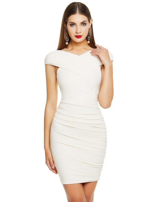 Dazzling Apricot Zip At Back Bandage Dress Cap Sleeve Loose Fit