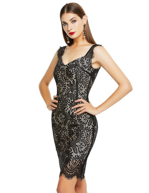 Vintage Black Wide Straps Lace Patchwork Bandage Dress Form Fitting