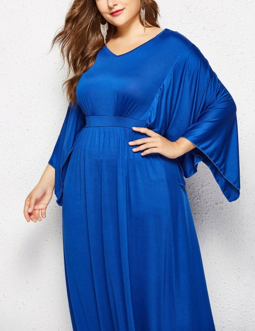 Contouring Sensation Royal Blue Large Size Cape Sleeves Ruched Dress