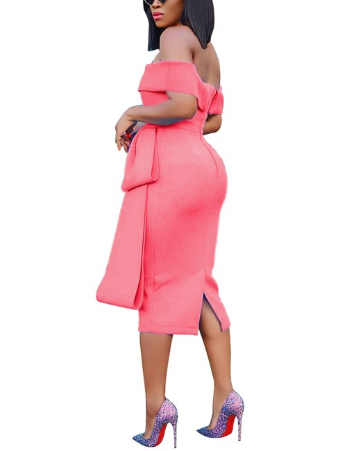 Ultimate Comfort Zipper Slit Back Watermelon Red Backless Bodycon Dress Outfits