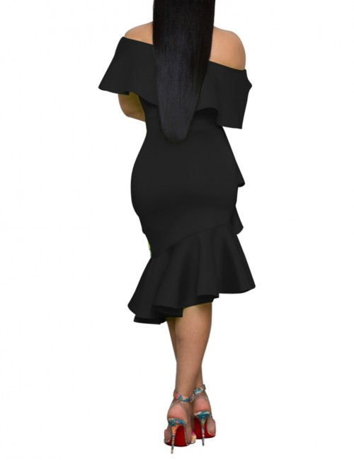 Bodycon Fit Flounce Hem Black Oblique Shoulder Bodycon Dress Simplicity
