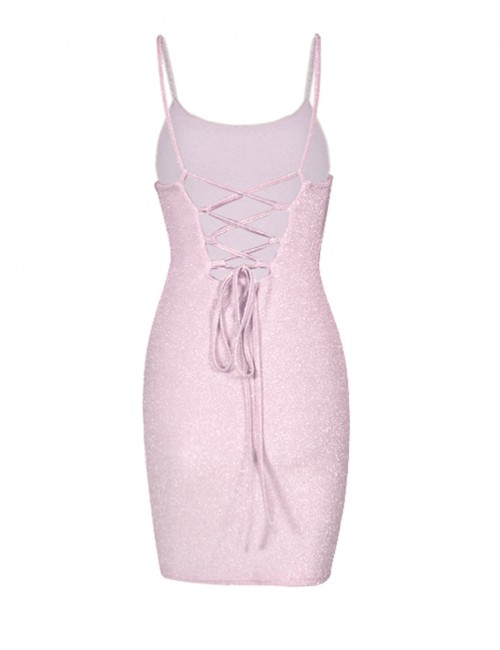 Pink Empire Waist Shine Scoop Neck Bodycon Dress Classic Fashion