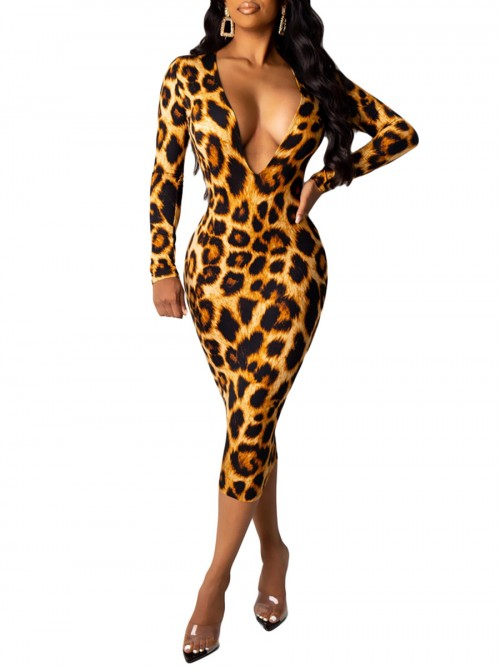 Contouring Sensation Light Brown Bodycon Dress Deep-V Leopard Pattern