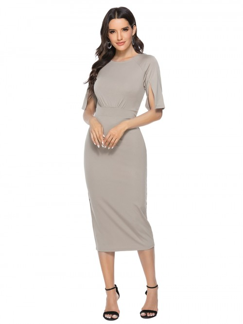 Angel Gray Bodycon Dress Crew Neck Solid Color Fashion Shop Online