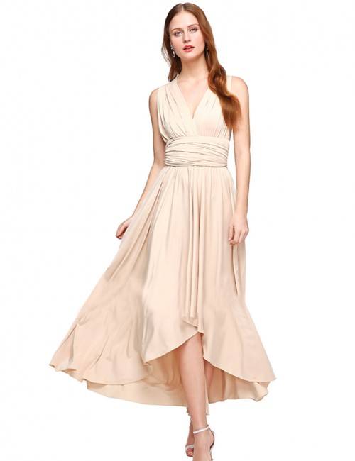 Apricot High-Low Hem Pleated Evening Dress Knot Cheap Wholesale