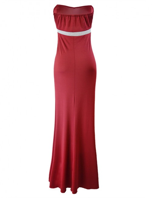 Casually Sweetheart Neck Backless Evening Dress Split Fashion Design