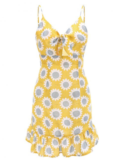 Appealing Yellow Sunflower Hollow Tie Flare Hem Mini Dress Great Quality