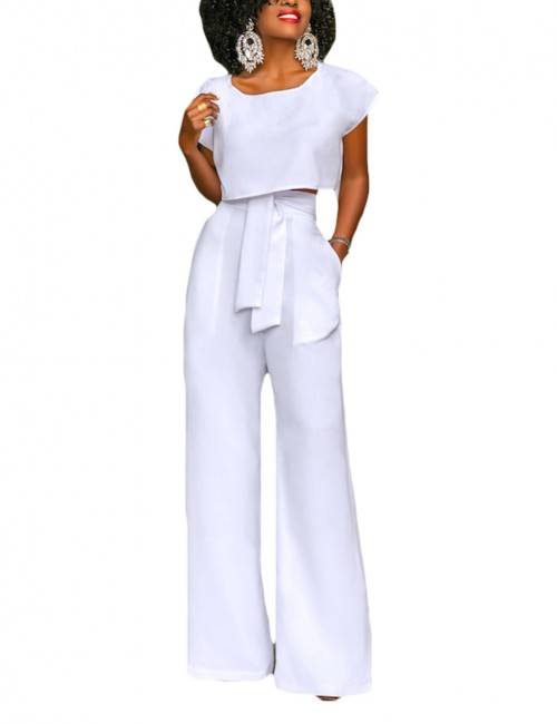 Dreamlike White Short Sleeved Top And Palazzo Pants Elegance