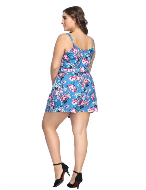 Fabulously Blue Plus V Neck Romper With Pockets For Girls