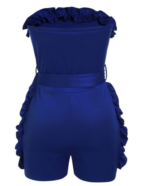Super Sexy Sapphire Blue Knot Belted Rompers Bandeau Tight Fit