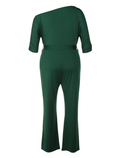 Shimmer Blackish Green Waist Belt Queen Size Jumpsuit Form Fitting Pocket