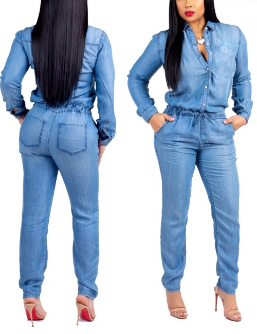 Blue Long Sleeves Drawstring Jumpsuit Ankle Length Super Faddish