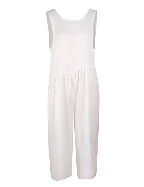 Bodycon Fit White Ruched Plain Sleeveless Jumpsuits Pocket For Sauntering