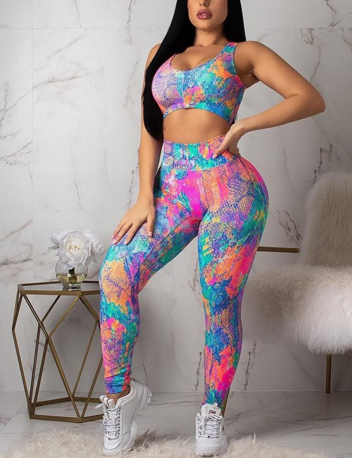 Snazzy Tie-Dyes Backless Cut Out Yoga Set High Quality