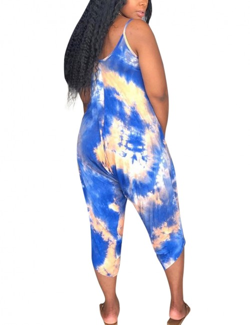 Blue Tie-Dyes Spaghetti Strap Jumpsuit V Collar Leisure Time