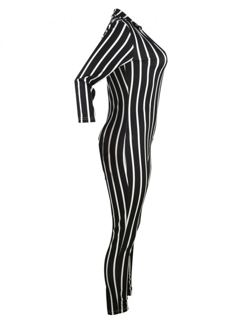 Curve Smoothing Black Zipper Stripes Long Sleeves Jumpsuit For Women