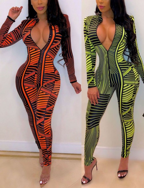 Particularly Green Irregular Print Long Sleeves Zipper Romper For Couple