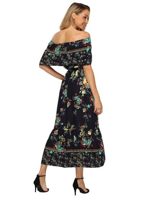Brilliant Bohemia Off Shoulder Floral Midi Dress Big Size