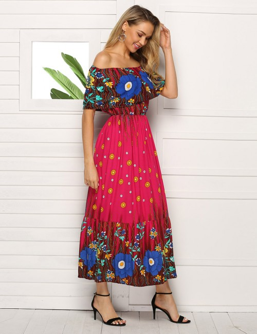 Bewitching Flare Hem Slim Waist Midi Dress Print Big Size Holiday