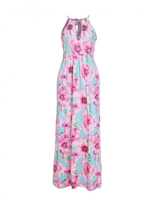 Body Hugging Pink Hollow Halter Print Tie Back Maxi Dress Wholesale