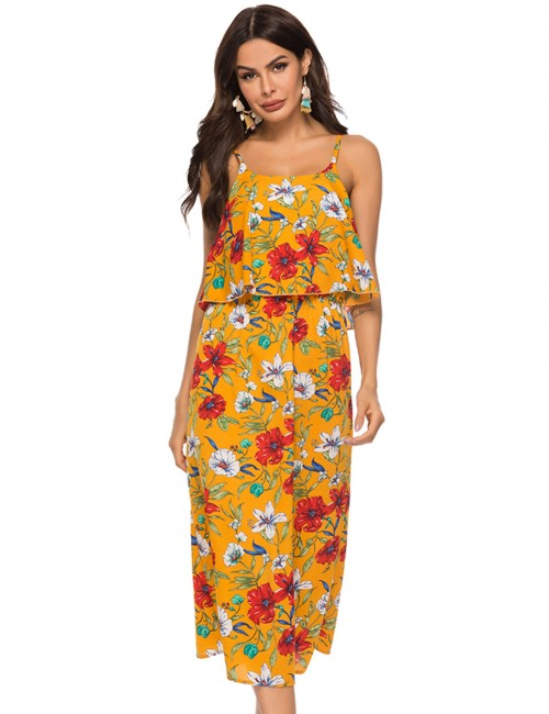 Casual Empire Waist Yellow Square Neck Midi Dress Fashion Ideas