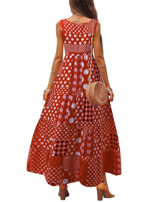Casually Print Patchwork Red Wide Strap Maxi Dress Big Size Forward Women