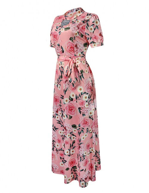 Premium Big Size Short Sleeve Print Keyhole Maxi Dress Breath