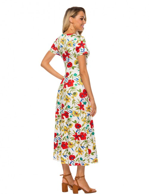 Brilliant White Floral Print V-Neck Modified Maxi Dress Pullover