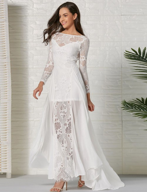 Exotic White Lace Open Back Hollow Out Evening Dress Online Shopping