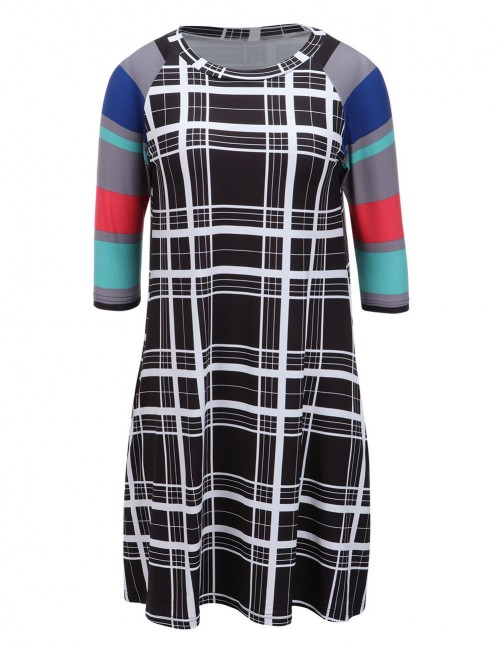 Elegance Grey Swing Brushed Dress Patchwork With Double Pockets Hot Sale