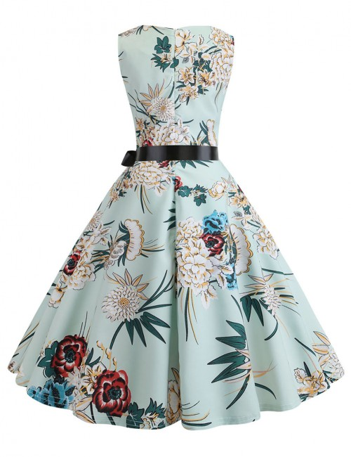 Print Zip Back Waist Tie Skater Dress Sleeveless Preventing Sweat