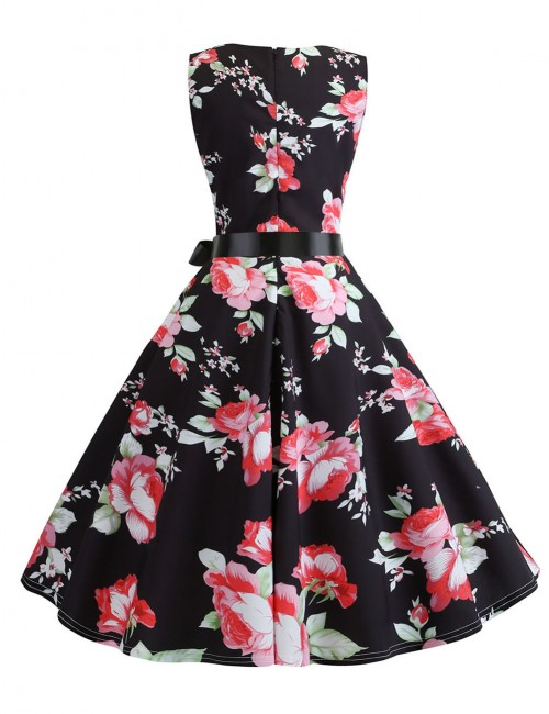 Entrancing Bow Tie Print Crew Neck Flare Skater Dress Ladies