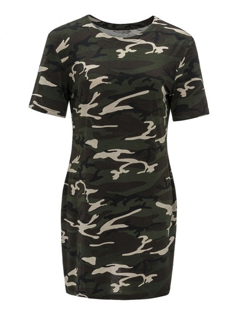 Scoop Neck Mini Dress Camouflage Pattern Super Sexy