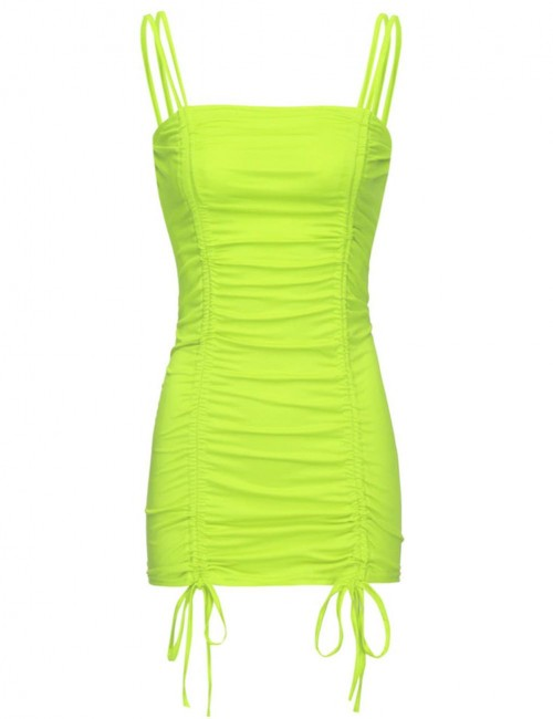 Particularly Green Ruched Sling Bodycon Dress Open Back Sheath