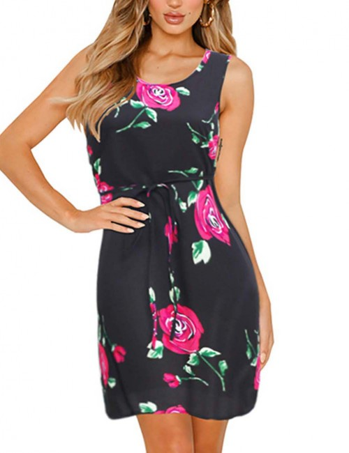 Faddish Floral Big Size Zipper Waist Tie Mini Dress Glamor