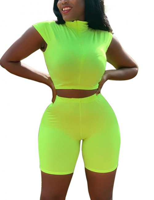 Appealing Green Two Piece Cap Sleeve Top Zipper Shorts Fashion Style