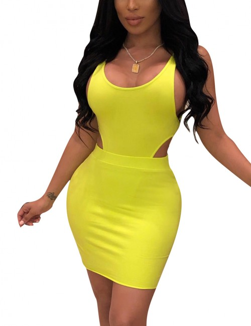 Dreamlike Yellow Solid Color Sleeveless Cut Out Sweat Suit For Walking