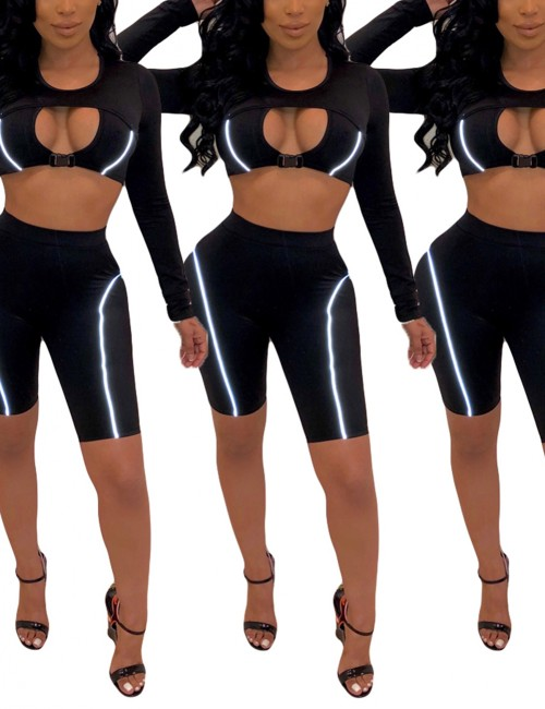 Ingenious Black Round Neck Cut Out Tight Shorts Suit Soft-Touch