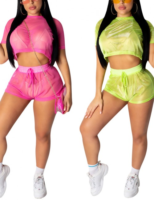 Cozy Green Mesh See-through Elastic Band Shorts Set For Upscale