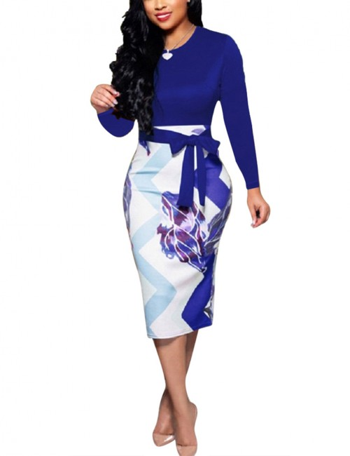 Blue Zipper Back Printed Long Sleeves Ladies Bodycon Bandage Dress Cheap Wholesale