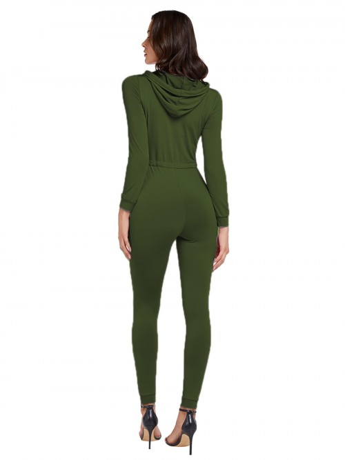 Romance Green Solid Color Drawstring Jumpsuit Zipper Svelte Style