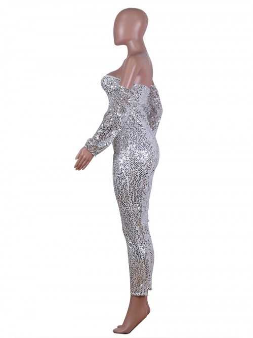 Sensual Curves Sliver Sequin Romper Plus Size Lantern Sleeves