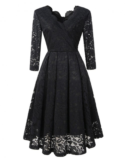 Relaxed Black Lace Cross V Neck Midi Dress Swing Hem Charming