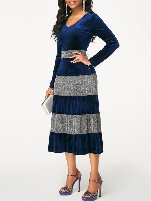 Pullover Blue Midi Dress Large Size Long-Sleeved All-Match Style