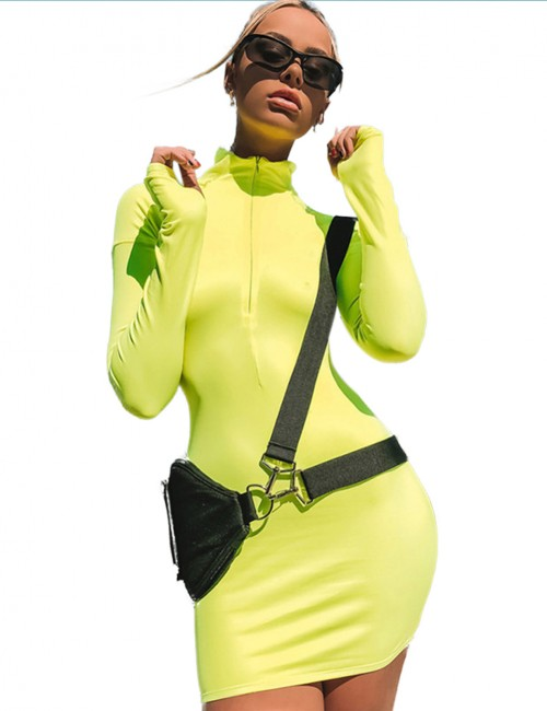 Affordable Green Long Sleeve Zipper Bodycon Dress High Neck Female