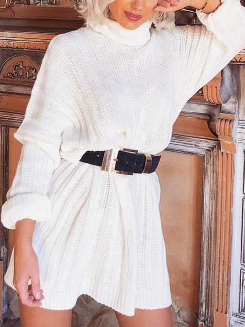 Sensual Curves White Knit Solid Color High Neck Sweater Dress